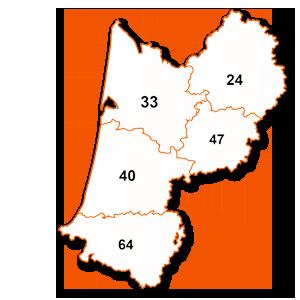 carte de la région Aquitaine