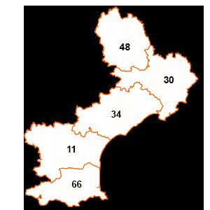 carte de la région Languedoc-Roussillon