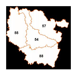 carte de la région Lorraine