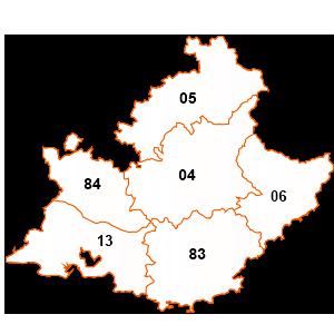 carte de la région Provence-Alpes-Côte-d'Azur