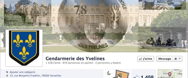 Page fan Facebook des gendarmes des Yvelines