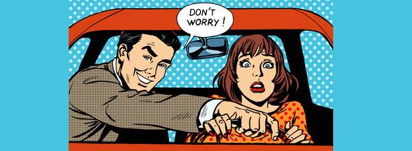 """dessin homme et femmes au volant """"don't worry"""""""