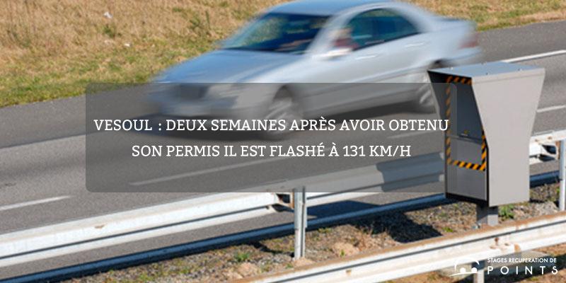 Vesoul: deux semaines après avoir obtenu son permis il est flashé à 131 km/h