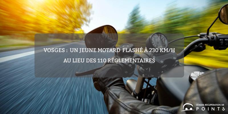 Vosges :un jeune motardflashé à 230 km/h au lieu des 110 réglementaires